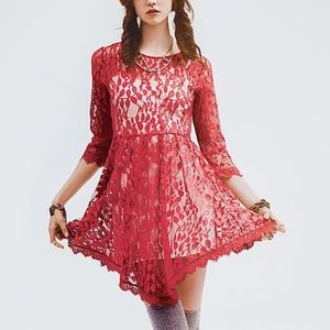 NWT Free People Floral Mesh Lace Dress Hot Red 8